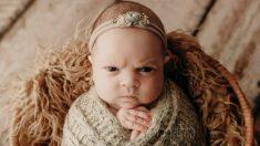 Expresiones faciales gruñonas de bebé en su primera sesión de fotos se vuelven virales en Internet