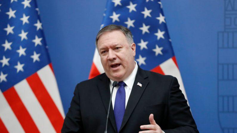 El Secretario de Estado de EE.UU. Mike Pompeo en el Ministerio de Relaciones Exteriores de Hungría el 11 de febrero de 2019 en Budapest, Hungría.  (Laszlo Balogh/Getty images)