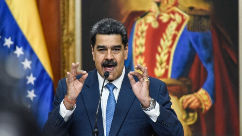 El presidente de Venezuela Nicolás Maduro habla durante una conferencia de prensa en el Palacio de Miraflores el 14 de febrero de 2020 en Caracas, Venezuela. (Carolina Cabral/Getty Images)