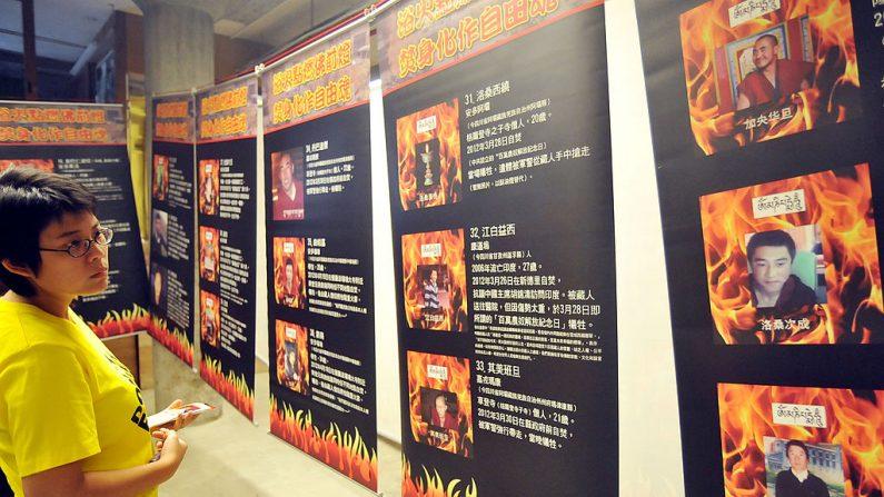 Una mujer observa una exposición que muestra retratos de presuntas víctimas de autoinmolación en el Tíbet, presentada por la filial de Amnistía Internacional en Taiwán, en Taipei, el 29 de junio de 2012.   (Mandy Cheng/AFP/GettyImages)