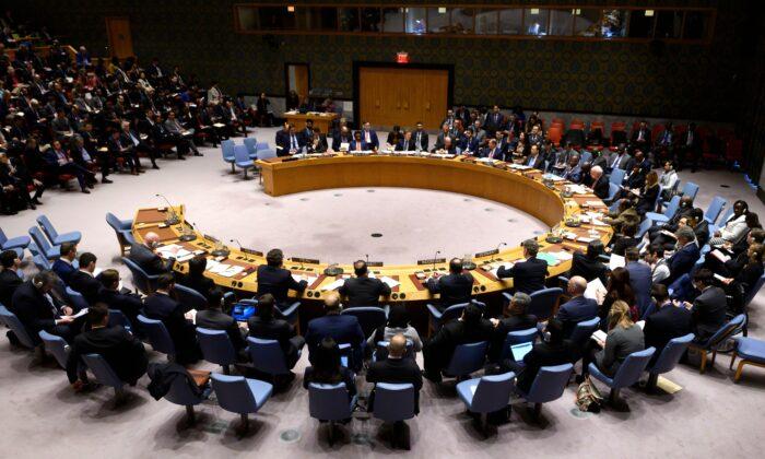 El Consejo de Seguridad de las Naciones Unidas se reúne sobre la crisis venezolana en las Naciones Unidas en la ciudad de Nueva York el 26 de febrero de 2019. (Johannes Eisele / AFP a través de Getty Images)