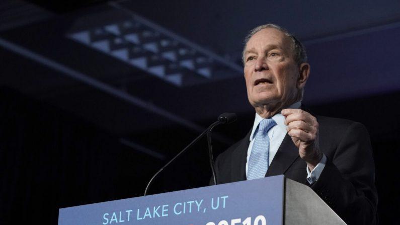 El candidato demócrata a la presidencia, el exalcalde de la ciudad de Nueva York, Mike Bloomberg, habla con sus partidarios en un mitin en Salt Lake City, Utah, el 20 de febrero de 2020. (George Frey/Getty Images)