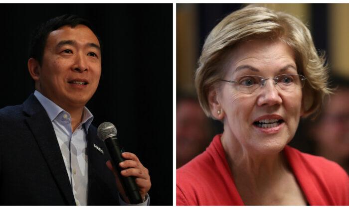 Los candidatos presidenciales demócratas Andrew Yang, izquierda, y la senadora Elizabeth Warren (D-Mass.) en la campaña electoral en fotografías recientes. (Justin Sullivan y Joe Raedle/Getty Images)
