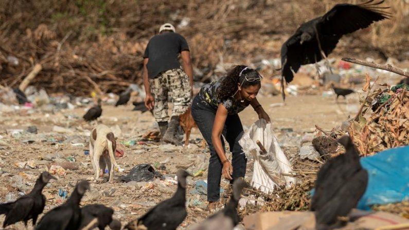 Venezolanos son vistos en el basurero municipal en la ciudad de Pacaraima (Brasil). EFE/Joédson Alves