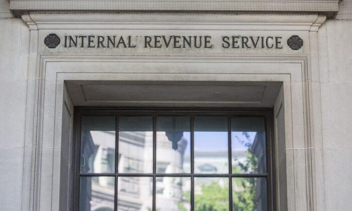 La sede del IRS en Washington el 15 de abril de 2019. (Zach Gibson/Getty Images)