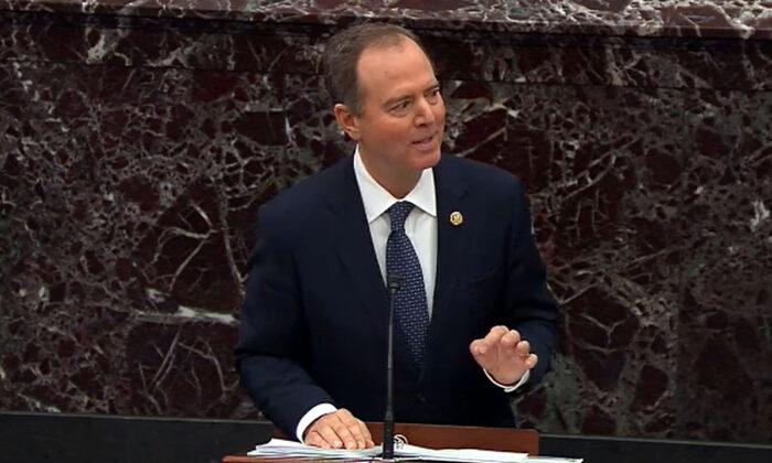 Adam Schiff (D-Calif.), habla durante los procedimientos del impeachment contra el presidente Donald Trump en el Capitolio de Estados Unidos en Washington el 22 de enero de 2020. (Televisión del Senado a través de Getty Images)
