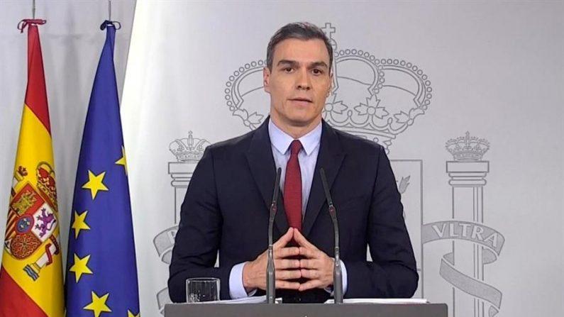 Captura de vídeo del presidente del Gobierno, Pedro Sánchez, en la comparecencia posterior al Consejo de Ministros extraordinario que ha tenido como fin la aprobación del decreto del estado de alarma el 14 de marzo de 2020. EFE/EFE-TV