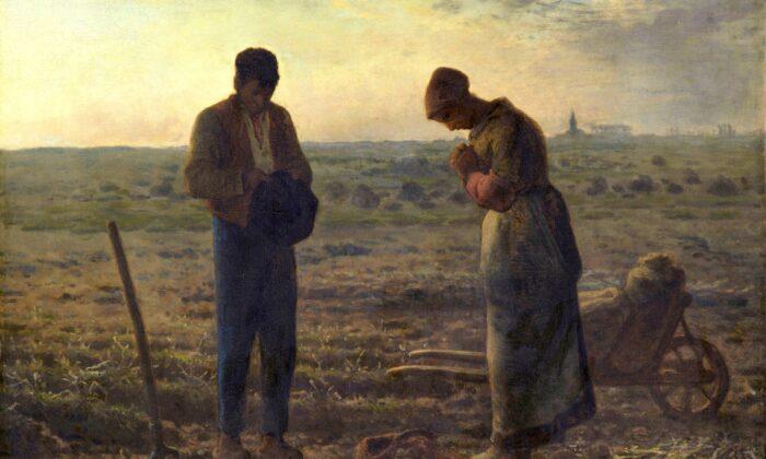 """""""The Angelus"""" de Jean-François Millet representa a un hombre y una mujer que se toman un momento para orar, un bienvenido respiro del trabajo de cultivar papas. (Dominio público)"""
