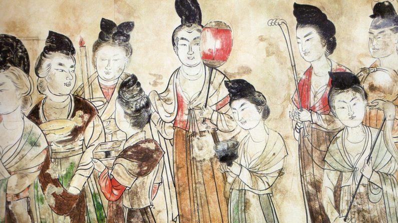 Damas de la corte de la Dinastía Tang (Pintura de mural de autor anónimo   Fuente: Tang Li Xian Mu Bi Hua (1974)   Wikimedia Commons   Dominio Público)