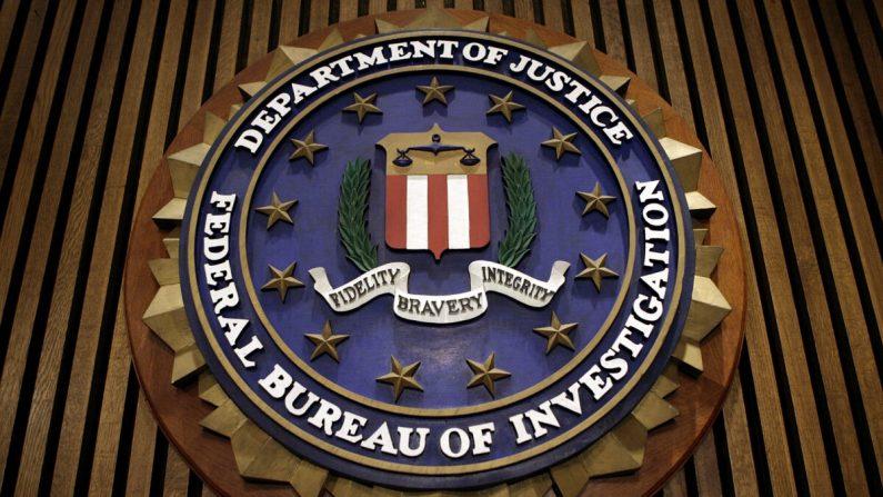 El sello del FBI en la Sala de la Bandera en las oficinas centrales de la oficina en Washington, DC, el 9 de marzo de 2007. (Chip Somodevilla/Getty Images)
