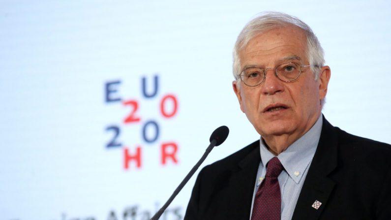 El Alto representante de la Unión Europea Josep Borrell Fontelles en una conferencia de prensa en Zagreb, Croacia, el 6 de marzo de 2020. (Damir Sencar/AFP vía Getty Images)