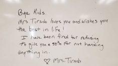 Maestra afirma que fue despedida por reprobar a estudiantes que no entregaron la tarea