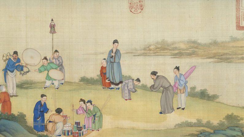 """Detalle del """"Mercado de Primavera en Paz"""" de Ding Guanpeng, de la Dinastía Qing (1644-1911). (Museo del Palacio Nacional de Taipei)"""