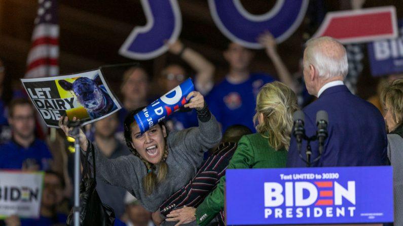 """Una mujer entra en escena mientras sostiene un cartel que dice """"Dejen morir a los lácteos"""" mientras el candidato presidencial demócrata, el exvicepresidente Joe Biden, habla en un evento del Súper Martes en el Centro Recreativo de Baldwin Hills el 3 de marzo de 2020. (David McNew/Getty Images)"""
