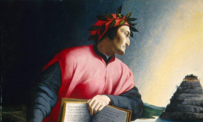 Dante nos muestra un camino que va más allá del infierno hasta el purgatorio. Detalle de un retrato alegórico de Dante Alighieri, a finales del siglo XVI, por un maestro desconocido. Galería Nacional de Arte. (Dominio Público)