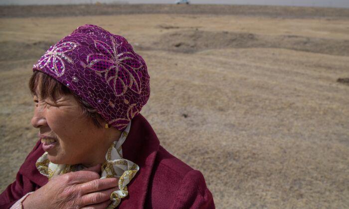 Feng Zhi Tian, una productora de lácteos de Mongolia Interior, observa las praderas de Tuanjiecun, Mongolia Interior, China, el 30 de abril de 2019. (Betsy Joles/ Getty Images)