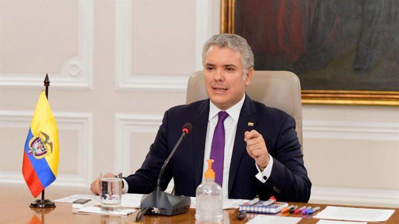 Fotografía cedida por la Presidencia de Colombia que muestra al jefe de Estado colombiano, Iván Duque, durante su declaración en Bogotá (Colombia). EFE/ Presidencia de Colombia