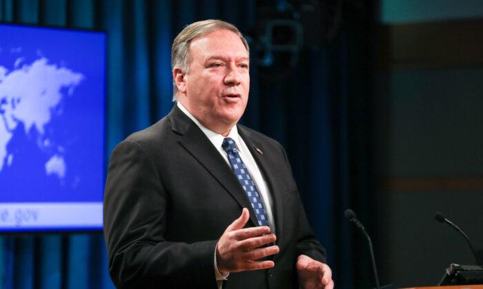 El Secretario de Estado, Mike Pompeo, realiza una conferencia de prensa en el Departamento de Estado, en Washington, el 7 de enero de 2020. (Charlotte Cuthbertson/The Epoch Times)