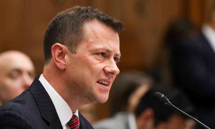 El vicedirector asistente del FBI, Peter Strzok, testifica en una audiencia conjunta del Comité sobre el Poder Judicial y el Comité sobre Control y Reforma de Gobierno por la participación del FBI en la elección 2016, en Washington el 12 de julio de 2018. (Samira Bouaou/The Epoch Times)