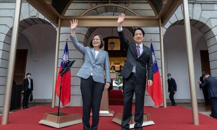 La presidenta de Taiwán, Tsai Ing-wen, y el vicepresidente William Lai asisten a las celebraciones inaugurales en la casa de huéspedes de Taipei el 20 de mayo de 2020. (Oficina presidencial de Taiwán)