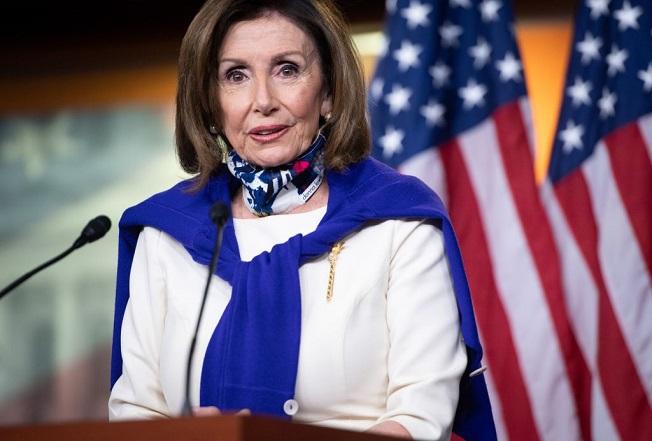 La presidenta de la Cámara de Representantes, Nancy Pelosi (D-Calif.), habla durante una conferencia de prensa en el Capitolio en Washington, DC, el 21 de mayo de 2020. (SAUL LOEB/AFP vía Getty Images)