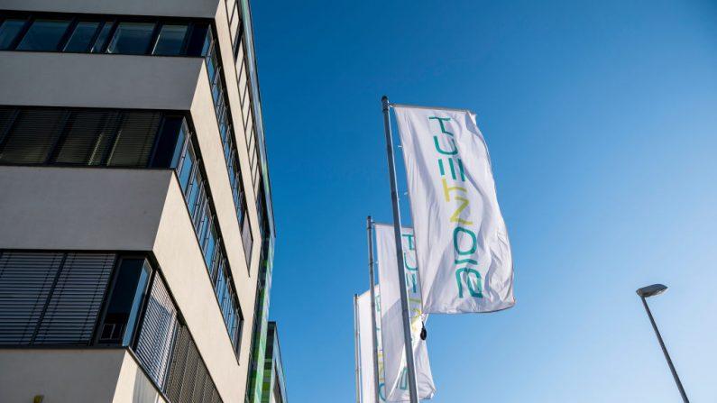 La sede de la compañía alemana de inmunoterapia BioNTech, en Mainz, Alemania, el 22 de abril de 2020. (Thomas Lohnes/Getty Images)