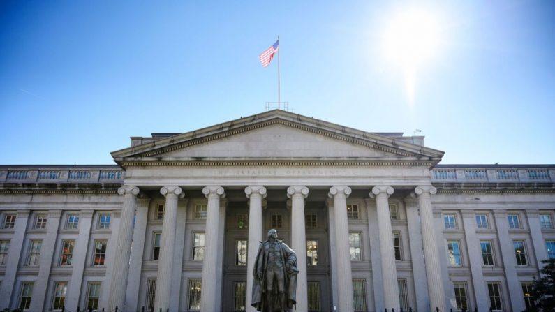 El edificio del Departamento del Tesoro de EE. UU. en Washington, el 18 de octubre de 2018. (Mandel Ngan/AFP/Getty Images)