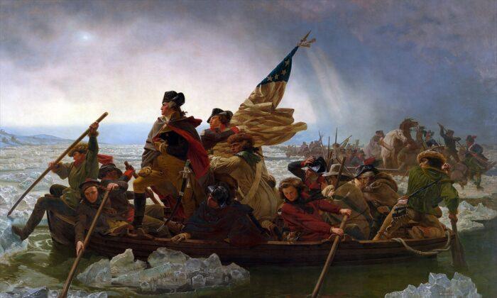 """""""Washington cruzando el Delaware"""", 1851, por Emanuel Leutze. Museo Metropolitano de Arte, Nueva York. (Dominio publico)"""