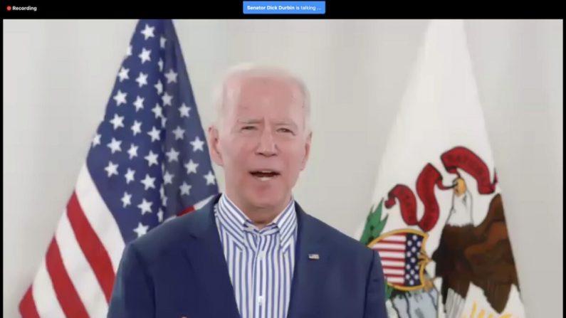 Captura de pantalla del evento de campaña virtual del exvicepresidente demócrata Joe Biden en Chicago, Illinois, el 13 de marzo de 2020. (Scott Olson/Getty Images)