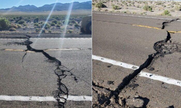 Un tramo de carretera que conecta Las Vegas con Reno, Nevada, fue agrietado por un terremoto de magnitud 6.5, lo que obligó a las autoridades a cerrarlo. (Cortesía de Nevada Highway Patrol)