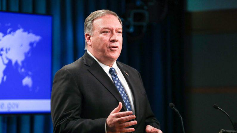 El secretario de Estado Mike Pompeo celebra una  conferencia de prensa en el Departamento de Estado en Washington el 7 de enero de 2020. (Charlotte Cuthbertson/The Epoch Times)
