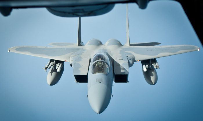 Los aviones de combate F-15 Eagle, como el que se ve aquí, también se encuentran entre los aviones que participan en Vigilant Ace. (Benjamin Chasteen/The Epoch Times)