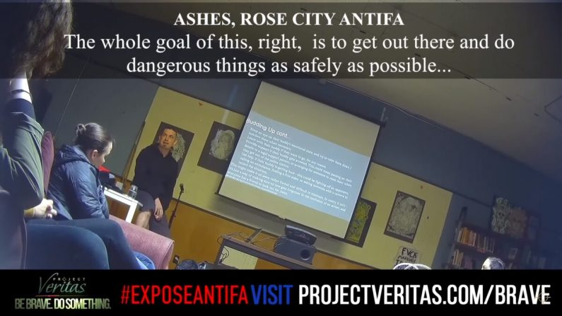 Una captura de pantalla de una exposición de Project Veritas en Antifa. (Project Veritas/Youtube)