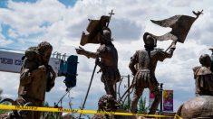 Un hombre resulta herido de bala en protesta por estatua de conquistador español en Nuevo México