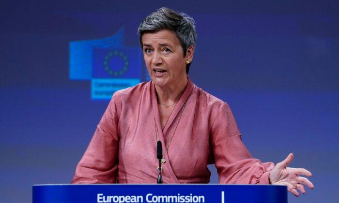 La vicepresidente Ejecutiva de la Comisión de la Unión Europea, Margrethe Vestager, habla durante una videoconferencia de prensa en la Comisión Europea en Bruselas (Bélgica), el 17 de junio de 2020. (Kenzo Tribouillard/POOL/AFP vía Getty Images)