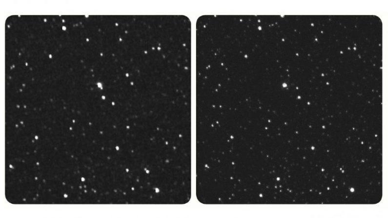 Imagen de la misión New Horizons de la estrella Próxima Centauri desde 4300 millones de Km. de distancia (Izquierda). Si tiene un visor estéreo, puedes usarlo en esta imagen. Si no, mire al centro de la imagen y deje que su enfoque se desplace para ver la tercera imagen combinada. (Cortesía de Tod Lauer/John Spencer/Brian May/NASA)