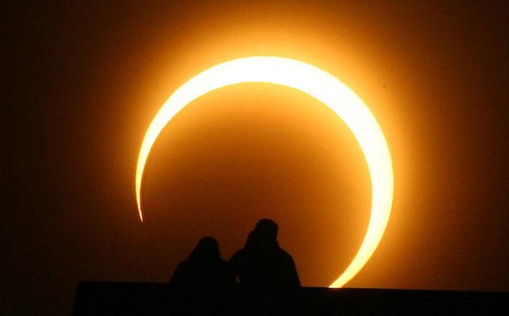Eclipse anular. (STR/AFP a través de Getty Images)