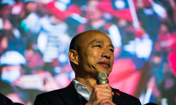 Han Kuo-Yu habla durante un mitin en Kaohsiung, Taiwán, el 11 de enero de 2020. (Billy H.C. Kwok/Getty Images)