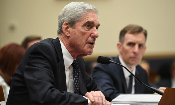 El exasesor especial Robert Mueller en Capitol Hill, en Washington, el 24 de julio de 2019. (Saul Loeb/AFP/Getty Images)