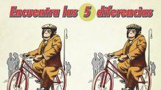 ¿Puede encontrar las 5 diferencias en esta caricatura de un mono montando en bicicleta? Solo expertos
