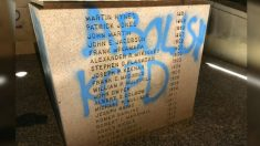 Habitantes de Kansas City salen a limpiar estatua de oficiales caídos profanada por manifestantes