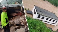 China: Río Baishui crece 27 pies durante la noche en Yunnan, y reportan severas inundaciones