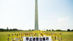 Pidiendo el fin de la persecución a Falun Dafa en el Monumento a Washington