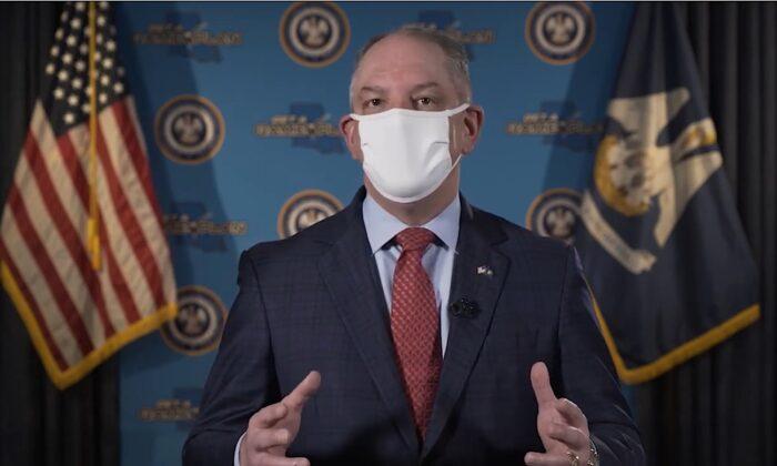 El gobernador de Luisiana, John Bel Edwards, aborda el tema del uso de mascarillas para ayudar a frenar la propagación de COVID-19, el 14 de mayo de 2020. (Oficina del Gobernador a través de YouTube)
