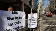 Comunidad de Falun Gong protesta fuera de la sede de la ABC antes de la emisión de varios reportajes
