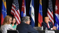 Refugiados venezolanos y cubanos piden a Trump que ayude a liberar a sus países del comunismo