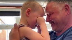 Niña de 4 años con cáncer abraza a su papá luego de estar 7 semanas separados, mira el tierno video