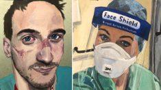 Hombre pinta retratos de médicos de primera línea agotados luego de tratar a pacientes con COVID-19