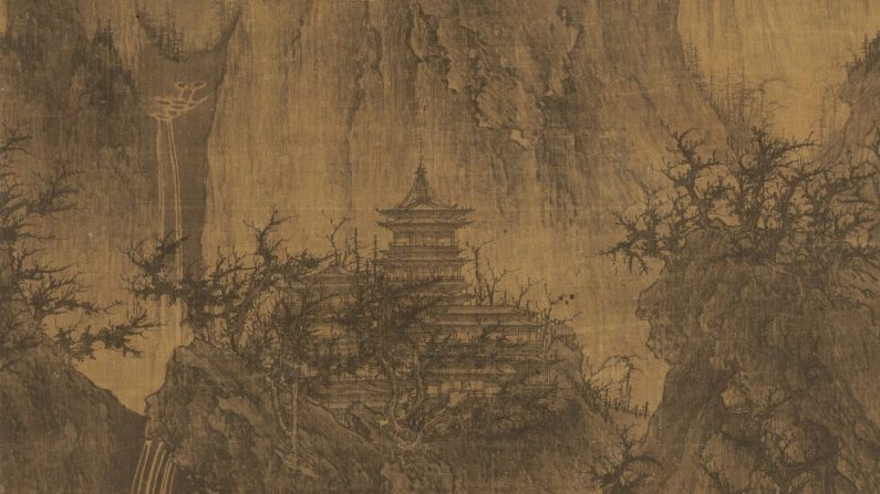 """Un templo solitario entre picos despejados"" por Li Cheng. Pergamino colgante con tinta sobre seda, 44 pulgadas por 22 pulgadas. Museo de Arte Nelson-Atkins, Kansas City, Mo. (Dominio Público)"