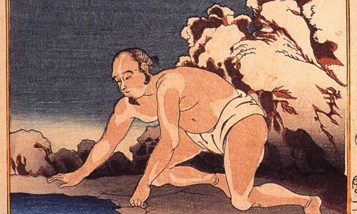 Una ilustración de Utagawa Kuniyoshi representa la historia de Wang Xiang. Cuando su madrastra quiso comer pescado en pleno invierno, Wang Xiang se quitó la ropa y se acostó en el río congelado para derretir el hielo. Después de su oración, una carpa saltó en sus manos. (Dominio Público)
